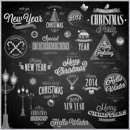 Christmas set - labels and emblems - Chalkboard. Vector