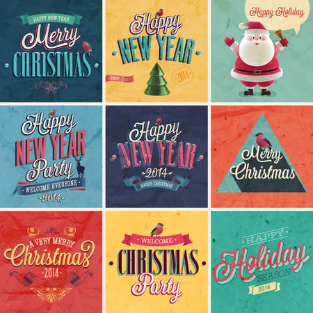 Christmas set - emblems and other decorative elements Vector