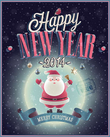 New Year Poster with Santa. Vector illustration. Vector
