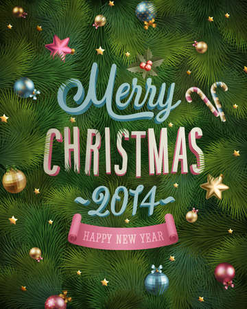 tree texture: Christmas poster with fir tree texture. Vector illustration.