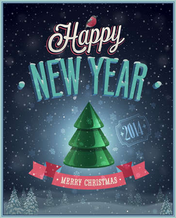 New Year Poster with Christmas tree. Vector illustration. Vector