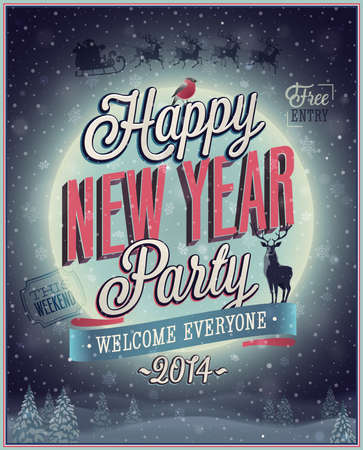 New Year Party Poster. Vector illustration. Vector