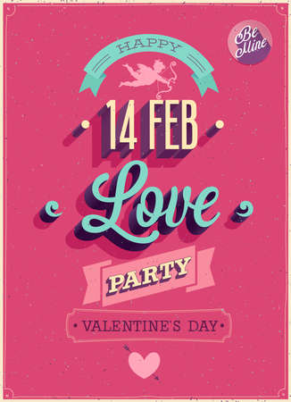 Valentijnsdag Poster. Vector illustratie.