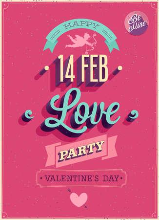 Valentine`s day Poster. Vector illustration.