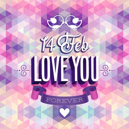 Valentine`s day Poster. Vector illustration. Vector