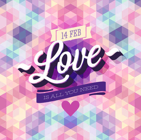 love bird: Valentine`s day Poster. Vector illustration.