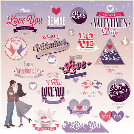 Valentine`s day set - labels, emblems and other decorative elements. Vector