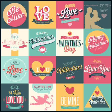 Valentine`s day set - labels, emblems and other decorative elements. Çizim