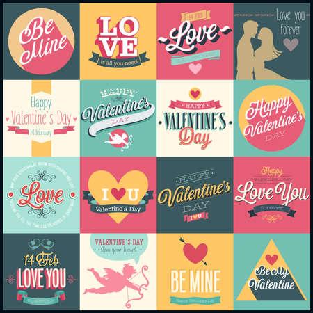 Valentine `s den, set - štítky, emblémy a jiné dekorativní prvky.