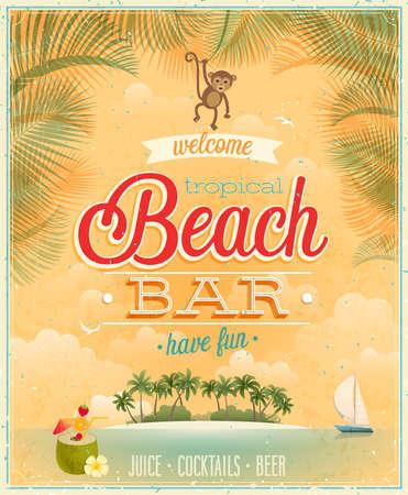 ヴィンテージ ビーチ バー ポスター。