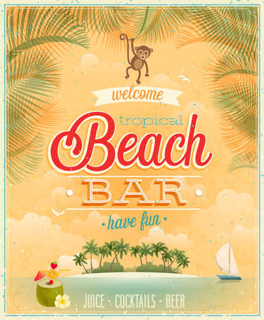 Affiche vintage Beach Bar. Banque d'images - 26162474