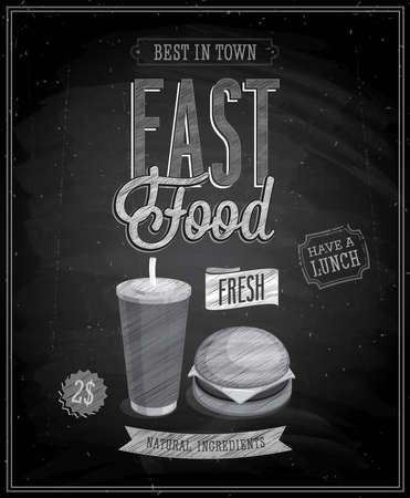 hot dog: Vintage Fast Food Poster - Chalkboard. Vector illustration. Illustration