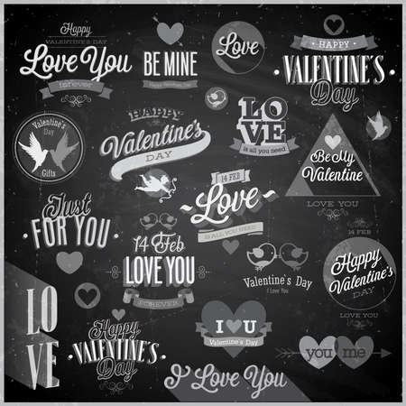 Valentines day set - emblems and other decorative elements - Chalkboard. Vector