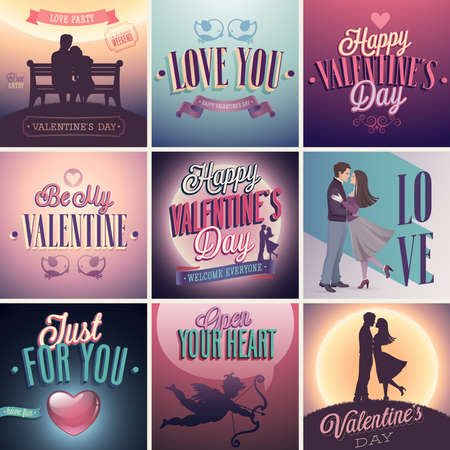 Valentines day set - labels, emblems and other decorative elements. Vector
