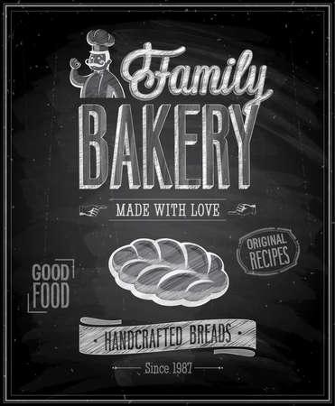 baker: Vintage Bakery Poster - Chalkboard. illustration. Illustration