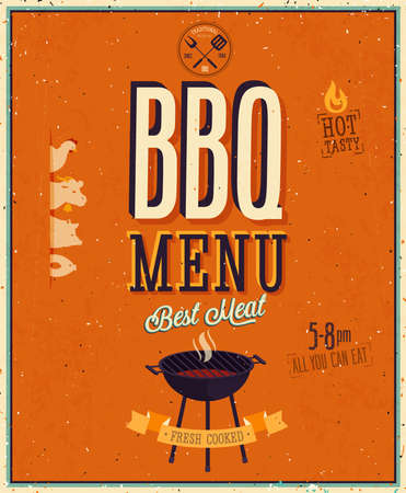 bbq party: Vintage BBQ poster.  Illustration
