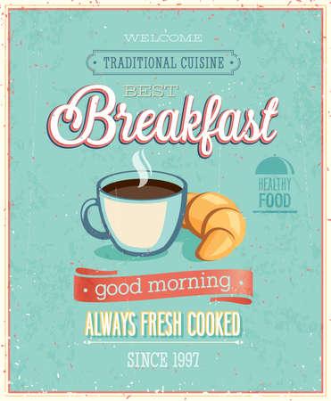 Weinlese-Plakat Frühstück. Abbildung.