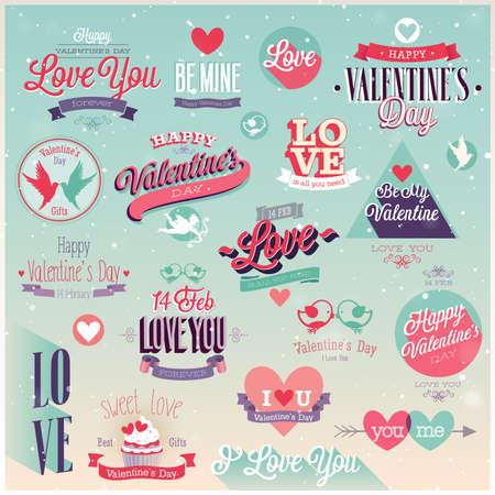 バレンタインデーのセット - ラベル、エンブレムやその他の装飾的な要素。