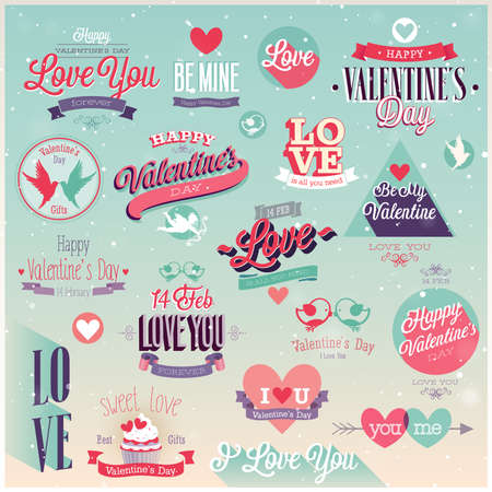 valentines day: Valentines day set - labels, emblems and other decorative elements.