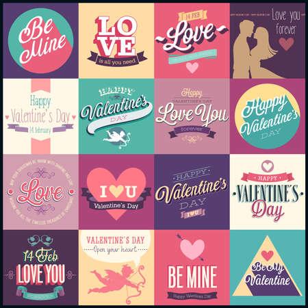 Valentijnsdag set - etiketten, emblemen en andere decoratieve elementen. Stock Illustratie