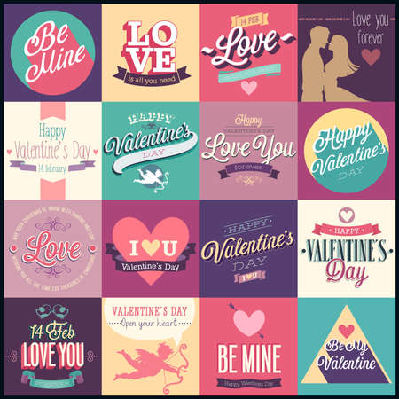 Valentines day set - labels, emblems and other decorative elements.