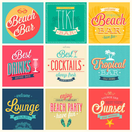 happy summer: Beach Bar set - labels, emblems and other decorative elements.