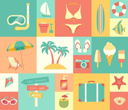 BEACH: Beach icons set. Vector illustration.