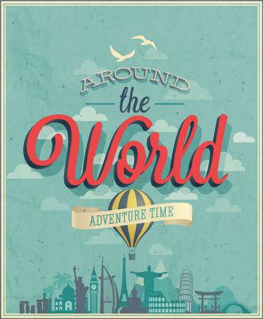 Rond de wereld poster illustratie.