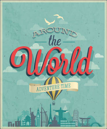 Around the world poster illustration. Illustration