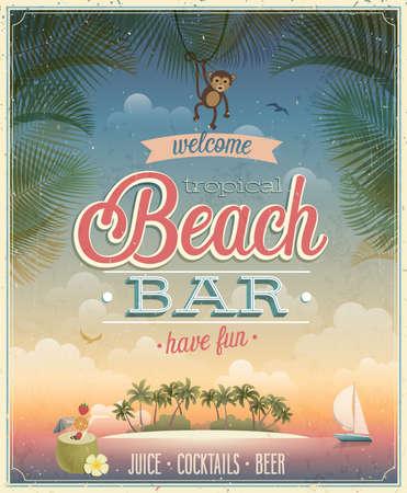 Affiche vintage Beach Bar.