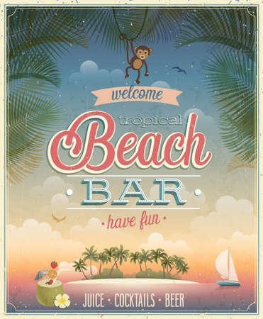 coconut: Vintage Beach Bar poster.