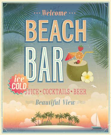 coctel de frutas: Vintage cartel Beach Bar. Vectores