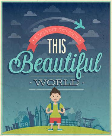 Travel poster illustration. Vector
