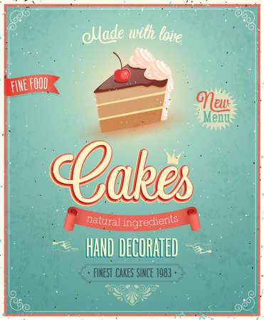 老式蛋糕海報插畫。