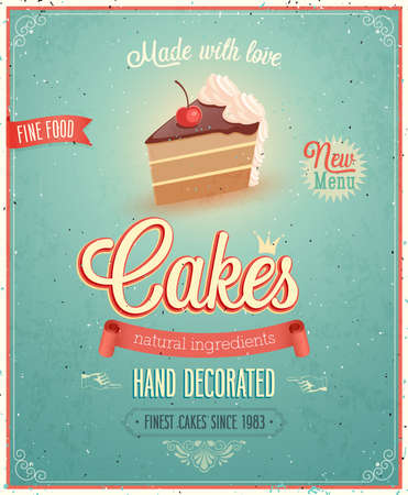 baking cake: Vintage Cakes Poster illustration.
