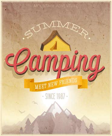 ビンテージ: 夏キャンプ ポスター イラスト。