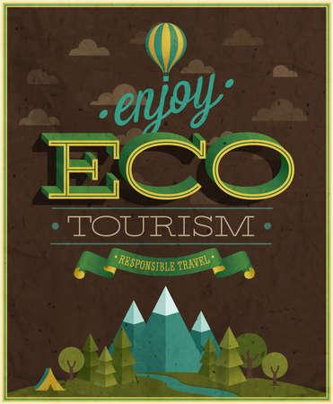 turismo ecologico: Eco Travel ilustración del cartel. Vectores
