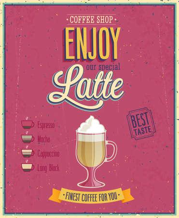 Vintage Latte Poster illustration. Vector