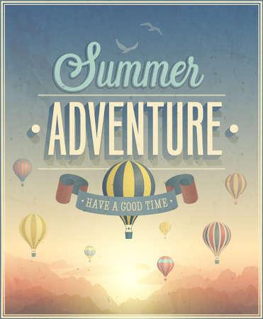 夏の冒険ポスター イラスト。