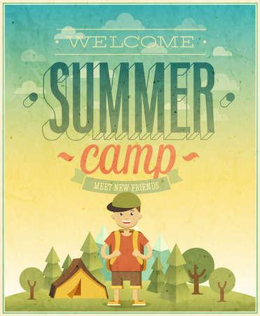 夏キャンプ ポスター イラスト。