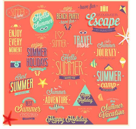 Summer and Travel set - labels and emblems. Vector