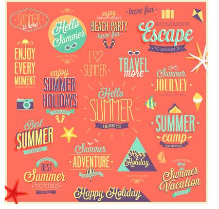 Verano y Viajes - etiquetas y emblemas.