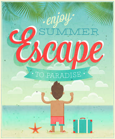 Summer Escape poster illustration. Vector
