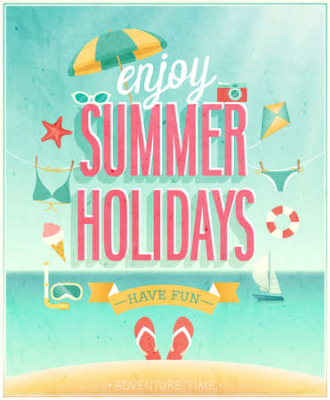 sunny beach: Summer Holidays poster illustration.