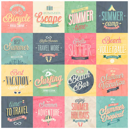 Summer set - labels and emblems illustration. Çizim