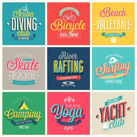 Summer sports set - labels and emblems. Illustration