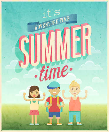 Summer Adventure affiche illustration. Banque d'images - 29100367