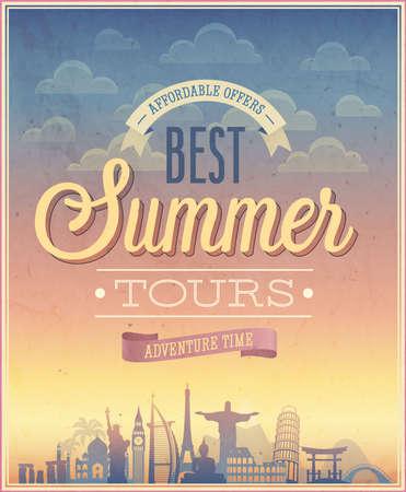 夏のツアー ポスター イラスト。