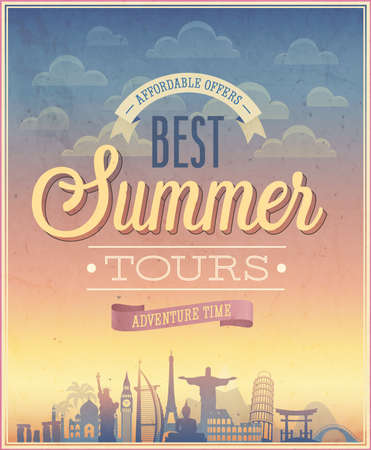 Summer tours poster illustration.
