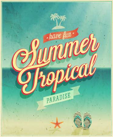 熱帯の楽園のポスター イラスト。  イラスト・ベクター素材